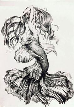 diy best tattoo images - Am schönsten Mermaid Tattoo Designs, Mermaid Drawings, Mermaid Tattoos, Mermaid Art, Mermaid Pinup, Tattoo Sketches, Tattoo Drawings, Art Sketches, Tattoo Art