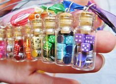 Miniature Dice and Poker Chips Necklace - Rainbow Colors - Glass Jar Necklace with Gift Bag - Your Choice of Colors Bottle Jewelry, Bottle Charms, Bottle Necklace, Clay Charms, Bottle Art, Mini Glass Bottles, Glass Jars, Miniature Bottles, Poker Chips