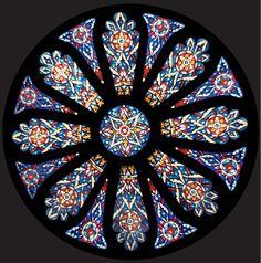 Pattered Stained Glass, Conrad Schmitt Studios Original Design, All Faiths Chapel at Boys Town, Omaha, Nebraska