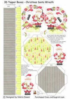 3D Topper Boxes Santa Christmas Wreath on Craftsuprint designed by Valerie Dawes