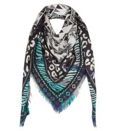 New Look Teal Jacquard Tribal Print Square Scarf #accessories #covetme