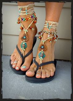 For Kyra. TRISKELE BAREFOOT SANDALS Turquoise Stone artisan crochet foot jewelry Triple Goddess Boho sandal Earthy Wedding Naturalist GPyoga