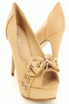 Beige Faux Leather Floral Perforated Bow Peeptoes Pump Heels
