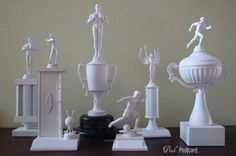 *: modern trophy art Great article about repurposing old trophies. Diy Trophy, Trophy Display, Trophy Craft, Old Trophies, Drake, Man Cave Home Bar, White Paints, Own Home, Home Decor Inspiration