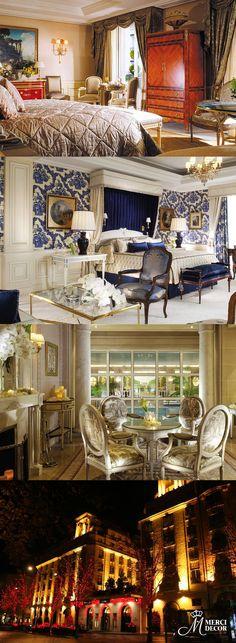 Four Seasons Hotel George V, Paris. Prédio histórico construído em 1928, com oito andares, possui quartos luxuosos e detalhes que lembram os anos da realeza francesa, uma coleção de arte requintada e gastronomia refinada. Diárias a partir de R$ 2.500,00. http://www.fourseasons.com/br/paris/