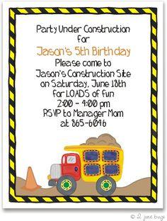 dump truck party invitation