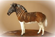 Zebra, extinct zebra, Eqqus Quagga Quagga, equine sculpture, needle felted  Ready to ship, unique piece from my Endangered/Extinction series.  Maybe the most beautiful Zebra that has existed.  Here is my vision of this unique but unfortunate animal; its not the sad lonely last Quagga that can be shown at the unique old black and white picture (it was a female), or the poorly stuffed pieces at museums, but a full coloured, majestic strong Quagga that should have lasted till our ages..  Me...