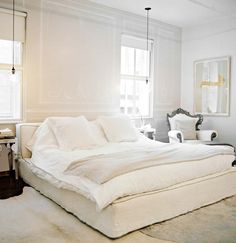 cozy white bed
