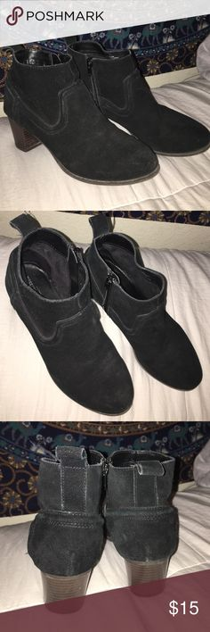 Black Ankle Boots Black | Suede | Zip Up | Small wooden heel | I LOVE these shoes, they're just too small on me :( Mossimo Supply Co. Shoes Ankle Boots & Booties