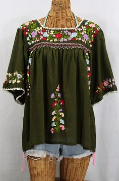"""La Marina"" Embroidered Mexican Style Peasant Blouse -Olive, via SirenSirenSiren.com $52.95"