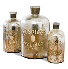 Every room needs a little sparkle. Set of 3- Malines Golden Mercury Glass French Antique Bottles #KathyKuoHome #FrenchCountryDreamRoom