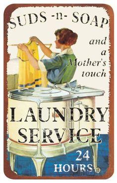 Suds And Soap Laundry Service Tin Sign Plaque en métal