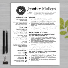 RESUME TEACHER Template For Word And Apple Pages The Jennifer Blk Dot