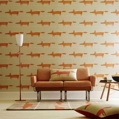 MR FOX WALLPAPER The iconic Mr Fox design from British brand Scion adds real character to the home. For the full Mr Fox look team the wallpaper, cushions and rug together! Said Wallpaper, Wallpaper Online, Fabric Wallpaper, Foxy Wallpaper, Baby Tapeten, Scion Mr Fox, Casa Retro, Spirit Soul, Fox Spirit