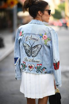 Get a jean jacket, jeans and or shorts and put patches (rose ones are nice) using patch attach if needed