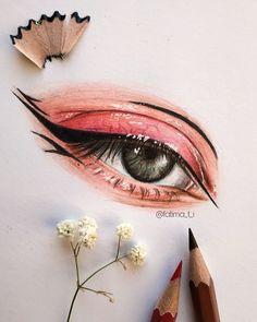 Art Drawings Sketches Simple, Cool Drawings, Watercolor Art Face, Realistic Eye Drawing, Eyes Artwork, Eye Sketch, Color Pencil Art, Pencil Art Drawings, Eye Art