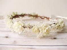 Accessoires cheveux de mariage rustique, casque nuptiale, Ivoire guirlande, Couronne de fleur de Gypsophiles, bandeau Floral - MERINGUE - 96