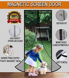 Magnetic Screen Door With Mesh Curtain Full Frame Velcro. Fits Door  Openings Up To 36u201dx82u201d MAX