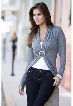 RING FRONT LONG SLEEVE TOP  Ring front long sleeve top. Domestic rayon/spandex. Sizes S, M, L. Dark grey (DG). 4829 $16.90.