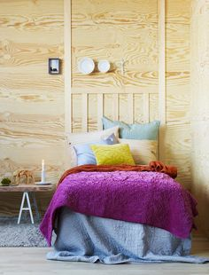 bright bedroom colors w a simple, yet textural plywood wall