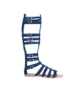 navy #buckled gladiator-flat sandal ~ This is the kind of shoe where you plan your whole outfit just so you can wear those shoes!