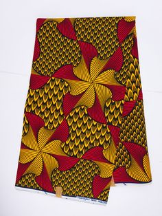 African fabric by the Yard Ankara fabric by the yard African Supplies African print fabric wax print fabric cotton african wax red yellow