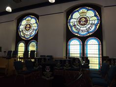 Interior view in Aberdeen's Salvation Army Citadel of the magnificent modern stained glass windows.