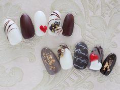 """""""チョコレートサンプル #nail #nails #nailart #nailsalon #naildesign #gel #gelart #gelnail #gelnails #geldesign #fashion #valentine #valentinenails…"""""""