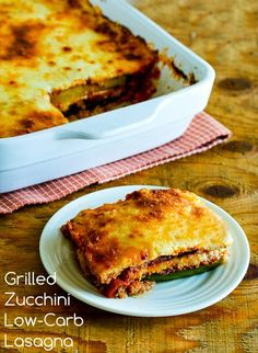 Grilled Zucchini Low-Carb Lasagna with Italian Sausage, Tomato, and Basil Sauce; I've been making this for years with those giant zucchini that show up in the garden in the fall!  [from KalynsKitchen.com] #DeliciouslyHealthyLowCarb #LowCarb #GlutenFree