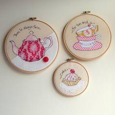 teatime embroidery hoop trio by rachel & george   notonthehighstreet.com