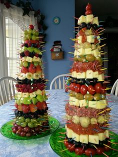 "Appetizers for our family Christmas buffet.  The kids liked it more than the adults did.  Used a 24"" Styrofoam cone covered with green foil, secured to the plastic plates with flat-head screws.  Goodies were attached with colored toothpicks. I used 250 for each cone."