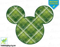 Green Tartan St Patricks Day Mickey Ears Printable Iron On Transfer or Use as Clip Art, DIY Disney Shirt Mickey Head Download Green Plaid by TheWallabyWay on Etsy