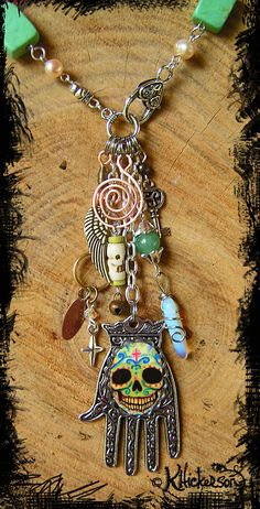 Talisman Necklace - Day of the Dead Sugar Skull - Karen Hickerson