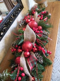 Burlap Christmas Table Centerpiece Holiday by KathysWreathShop, $39.95