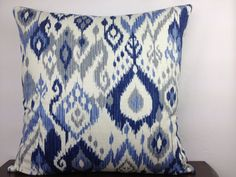 Blue Ikat Pillow Cover 20x20  Off White Blue and by EastEndSaje