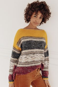 MELINDA genser. Garnpakke i Phil Nuage og Phil Tweed fra Phildar. Tweed, Pull Jacquard, Casual Look, Striped Knit, Pulls, Christmas Sweaters, Knitwear, Knit Crochet, Autumn Fashion