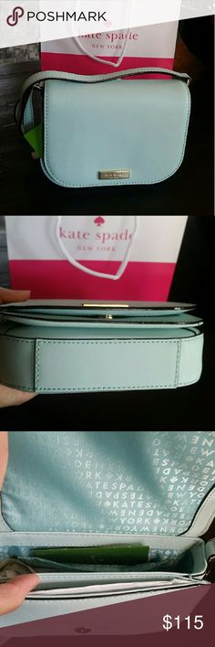 """NWT Kate Spade Cross Body Brand new with tags Kate spade saddle Crossbody bag in graceblue (mint colored) color. Saffiano leather with snap closure. Adjustable strap. Has an outer slot. Fully lined. I have the same purse in geranium (red) . Measurements 7"""" X 6"""" X 2""""  It will have a care card and I can include the Kate spade shopping bag and tissue paper if you like. kate spade Bags Crossbody Bags"""