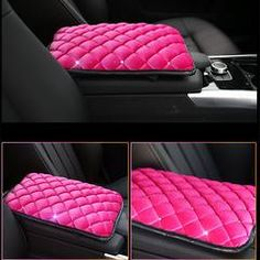 Pink Velvet Bling Car Center Console Cover with Rhinestones
