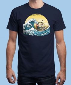 """""""Going Merry by Hokusai"""" is today's £8/€10/$12 tee for 24 hours only on www.Qwertee.com Pin this for a chance to win a FREE TEE this weekend. Follow us on pinterest.com/qwertee for a second! Thanks:)"""