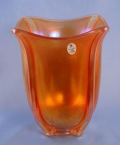 Square Vase  Marigold Carnival Glass