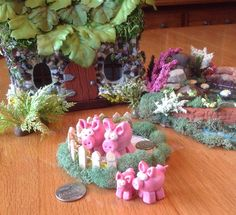 OOAK Miniature Pigs in a Pen, Pigs in a Poke, Collectable Miniature Piggies by BeverlyJaneCreations on Etsy