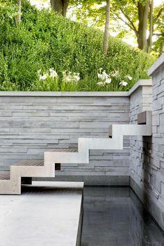 Stainless steel stairs, Montreal Estate [Janet Rosenberg and Studio] Landscape Architecture, Landscape Design, Contemporary Garden Design, Modern Design, Garden Stairs, Pinterest Garden, Outdoor Stairs, Patio Interior, Modern Stairs