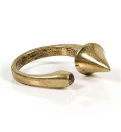 Antique Gold Spike Hook Ring