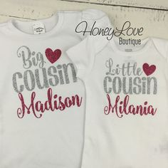 PERSONALIZED Cousin shirts Matching Little Middle Big glitter bodysuits, custom personalization shirt baby girl newborn infant toddler by HoneyLoveBoutique