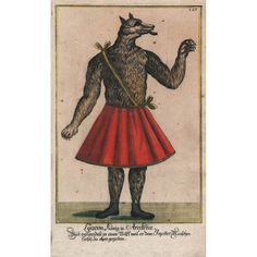 Lycaon, a king of Arcadia, is depicted, as the caption explains, after having been punished by Zeus by being turned into a wolf. This is a from a set of 205 theatrical costume designs for beasts and monsters from Greek mythology from a collection by Johann Messelreuter published in Germany in 1723. Art Nouveau, Art Deco, Pictorial Maps, Antique Prints, Greek Mythology, Natural History, Costume Design, Caption, Monsters