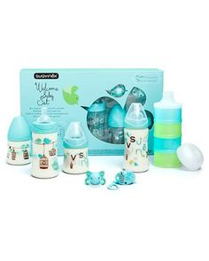 Suavinex Baby Set до 4 меc голубой  — 3971р. ------------------- Набор Suavinex Baby Set включает в себя 2 бутылочки по 270 мл, 2 бутылочки по 150 мл, силиконовую пустышку, держатель для пустышки и дозаторы для смеси. Набор предназначен для детей до 4 меc и не содержит бисфенол.