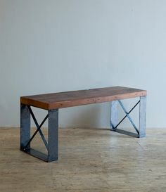 Sleek Modern Industrial Reclaimed Bench & Coffee by Blakeavenue, $795.00