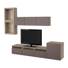 BESTÅ TV-løsning/vitrinedører - valnøttmønstret lys grå/Valviken mørkebrunt klart glass, skuffeskinne, lukkes mykt - IKEA