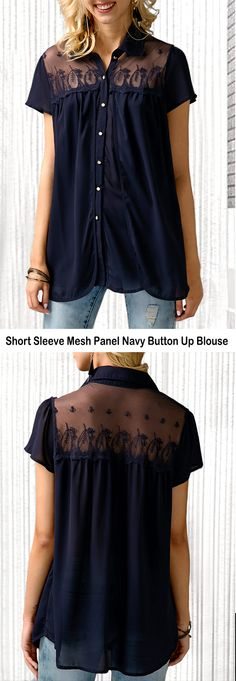 Short Sleeve Mesh Panel Navy Button Up Blouse Shirt Blouses, Shirts, Blouse Styles, Capsule Wardrobe, Button Up, Knitwear, Mesh Panel, Cool Outfits, Women Wear