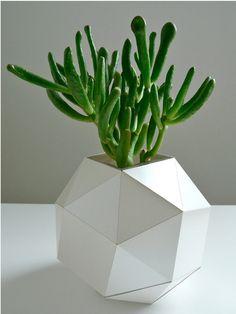 Pearl Polyhedron Paper Vase - Origami Inspired Design. $24.00, via Etsy.